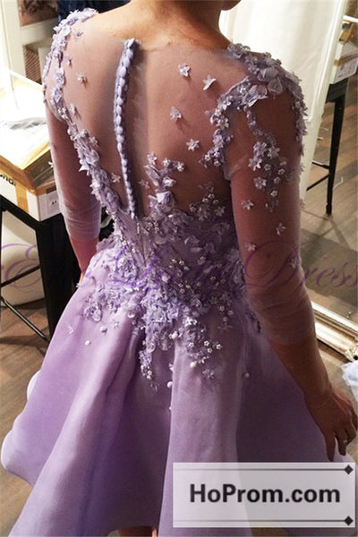 Elegant Knee Length Purple Prom Dresses Homecoming Dresses