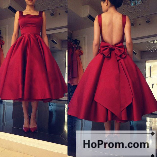 Tea Length Open Back Satin Prom Dresses Homecoming Dresses