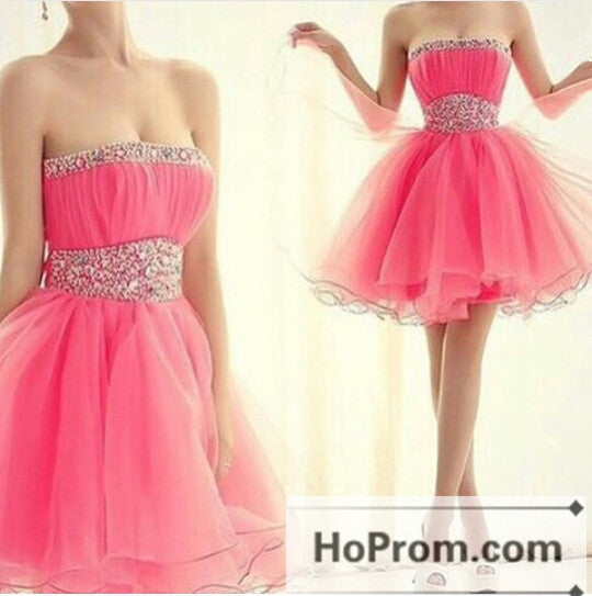 Pink Organza Strapless Mini Prom Dresses Homecoming Dresses