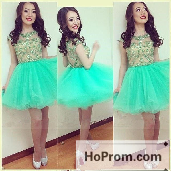 Sequins Green Cap Sleeve Prom Dresses Homecoming Dresses
