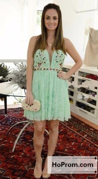 A-Line Green Lace Mini Prom Dresses Homecoming Dresses