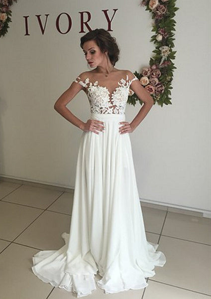 Boho Wedding Dresses with Side Slit,Lace Appliques Bridal Dress
