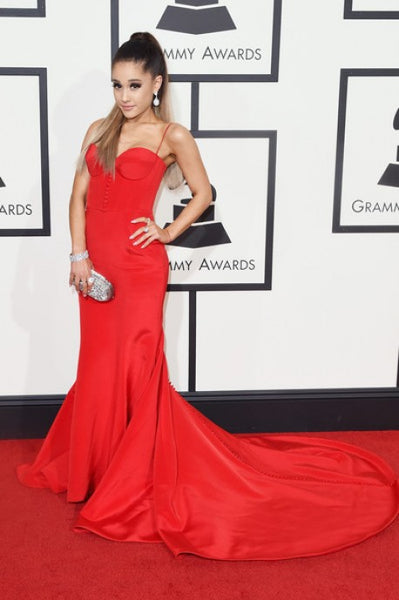 Red Ariana Grande Mermaid Satin Dress Spaghetti Straps Prom Celebrity Evening Dress Gown 58th Annual Grammy Music Awards