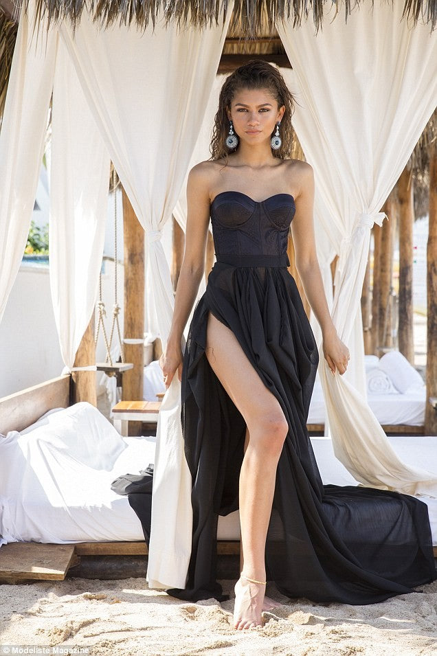 Black Zendaya Coleman High Split Strapless Dress Gown Prom Celebrity Evening Dress Modeliste Magazine On Sale