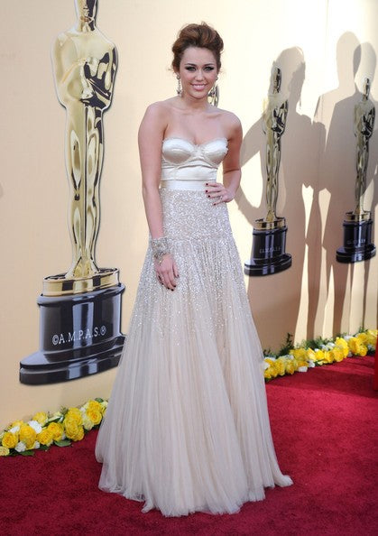 Ivory Miley Cyrus Strapless Beaded Open Back Dress Sequins Prom Red Carpet Formal Dress Oscar Awards