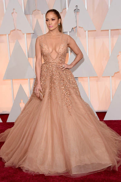 Peach Jennifer Lopez (J.Lo) V Neck Sequins Dress Long Prom Best Celebrity Red Carpet Dress Oscars