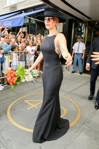 Black Lady Gaga Mermaid Spaghetti Straps Dress Open Back Prom Celebrity Evening Dress New York City