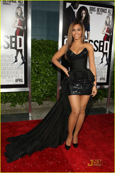 Black Beyonce Knowles High Low Peplum Strapless Prom Red Carpet Evening Dress Premiere Of Her New Movie Obsessed
