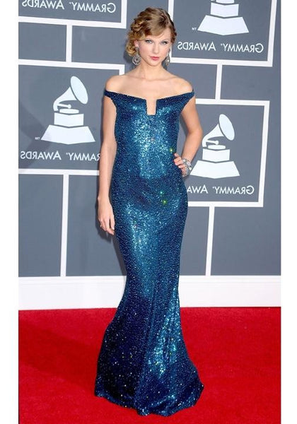 Blue Taylor Swift Sparkly Sequin Strapless Dress Open Back Prom Red Carpet Dress Grammys