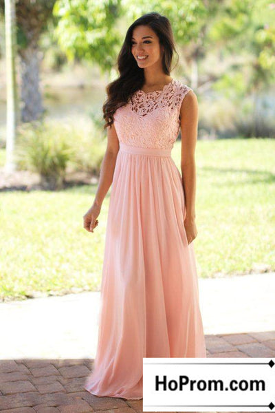 A-Line Lace Chiffon Prom Dress Evening Dresses