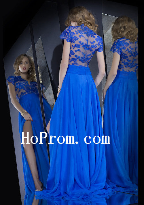 Short Sleeve Prom Dresses,Blue Lace Prom Dress,Evening Dress