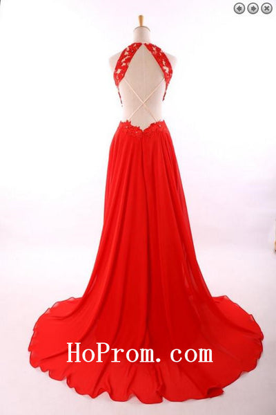Scoop Chiffon Prom Dresses,Red Prom Dress,Evening Dresses