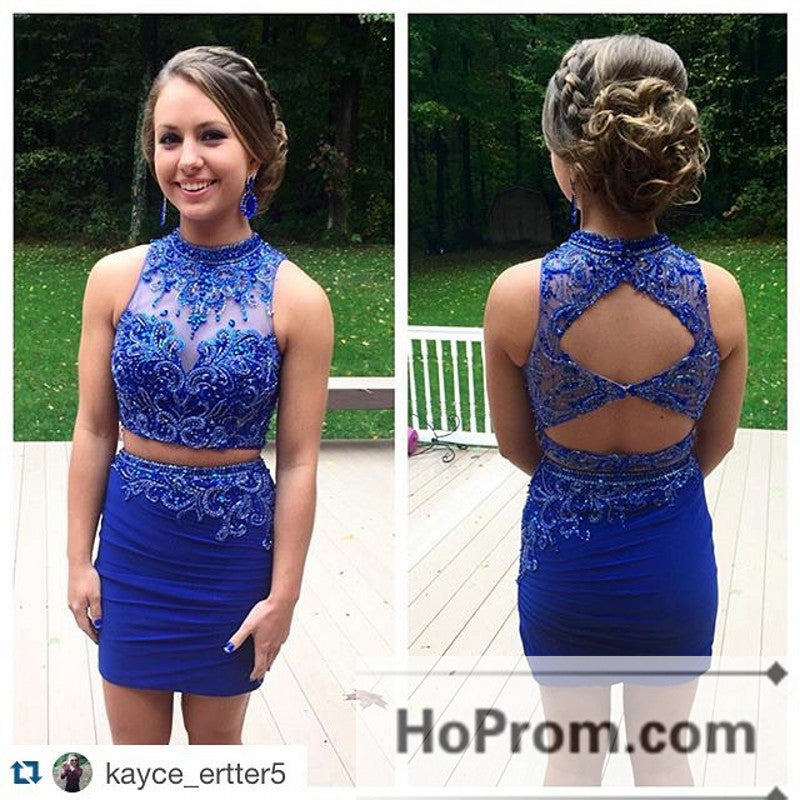 Royal Blue Tight Two Piece Prom Dresses Homecoming Dresses