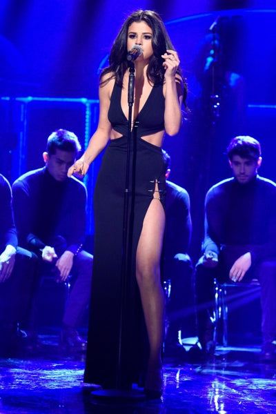 Black Selena Gomez V Neck Cut Out Dress Slit Prom Celebrity Dress 'Revival' Performance