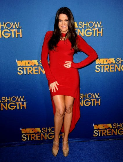 "Red Khloe Kardashian Long Sleeve High Neck Dress High Low Prom Red Carpet Evening Dress The MDA ""Show Of Strength"" Taping"