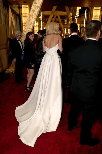 White Lady Gaga Strapless Satin Jumpsuits prom Red Carpet Formal Gown Dress Oscars