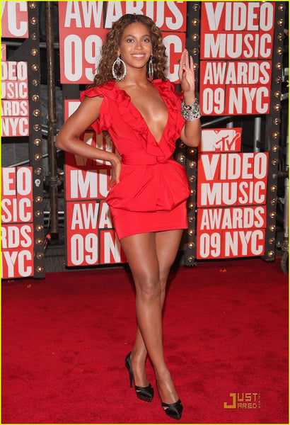 Red Beyonce Cap Sleeve Short Wrap Dress V Neck Satin Prom Red Carpet Formal Party Dress MTV VMAS
