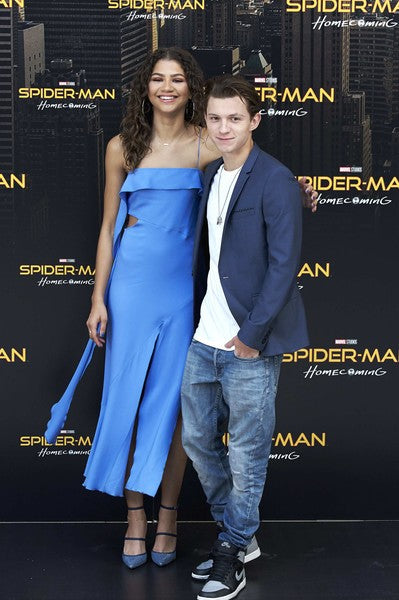 Blue Zendaya Coleman Spaghetti Straps Asymmetrical Dress Waist Cutout Prom Celebrity Evening Dress 'Spider-Man Homecoming' photocall