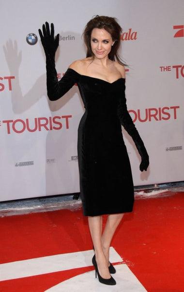Black Angelina Jolie Velvet Cocktail Dress long sleeves Prom Red Carpet Celebrity Dress The Tourist Premiere