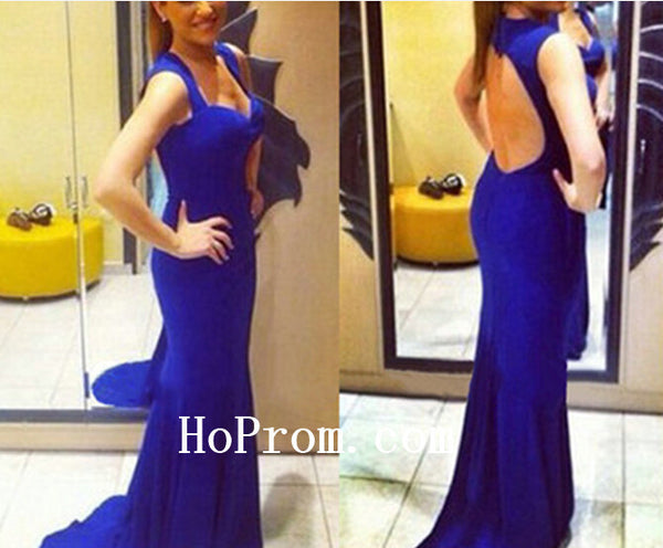 Hollow Back Prom Dresses,Blue Prom Dress,Evening Dress