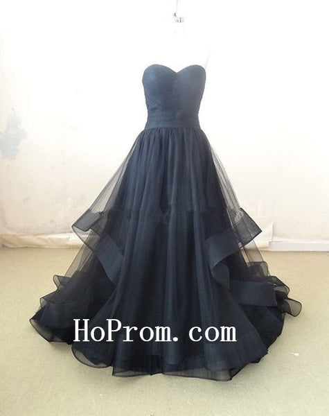 Strapless Black Prom Dresses,Long Prom Dress,Tulle Evening Dresses