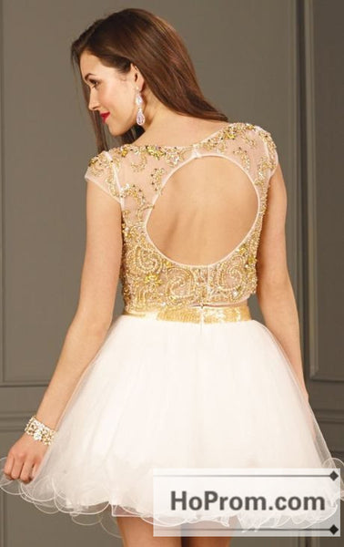 Crystals Two Piece Short White Prom Dresses Homecoming Dresses