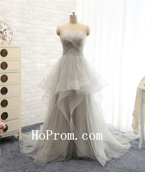 Light Grey Prom Dresses,Long Prom Dress,Evening Dress