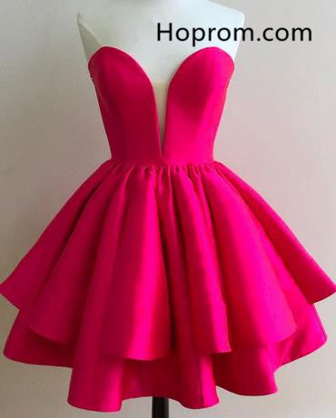 Hot Pink Short Strapless Homecoming Dress Party Dress