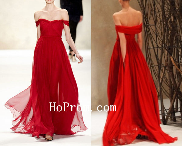 Tulle Chiffon Prom Dress,Red Simple Prom Dresses,Evening Dress