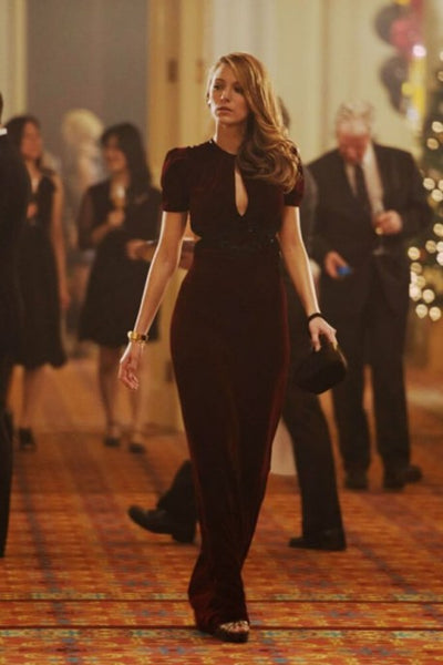 Burgundy Blake Lively Figure hugging Dress Velvet Prom Celebrity Evening Dress The Age of Adaline