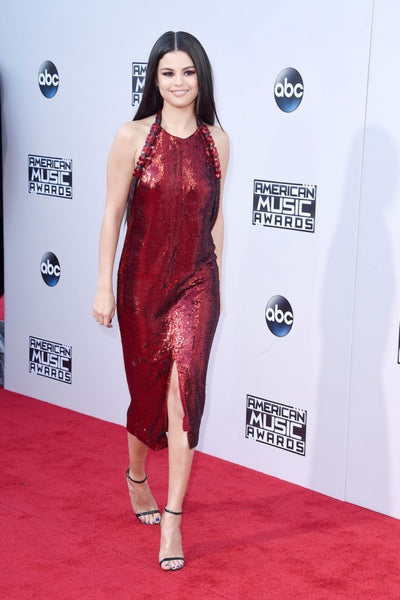Burgundy Selena Gomez Sparkly Slit Dress Open Low Back Prom Red Carpet Dress American Music Awards