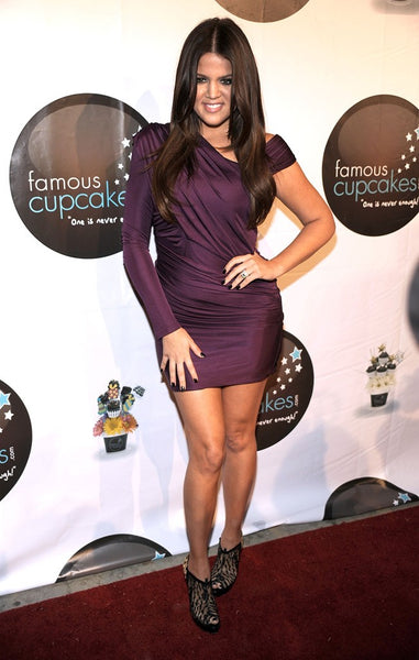 Purple Khloe Kardashian One Long Sleeve Asymmetrical Dress Satin Sheath Prom Red Carpet Evening Dress Famous Cupcakes Launch Party