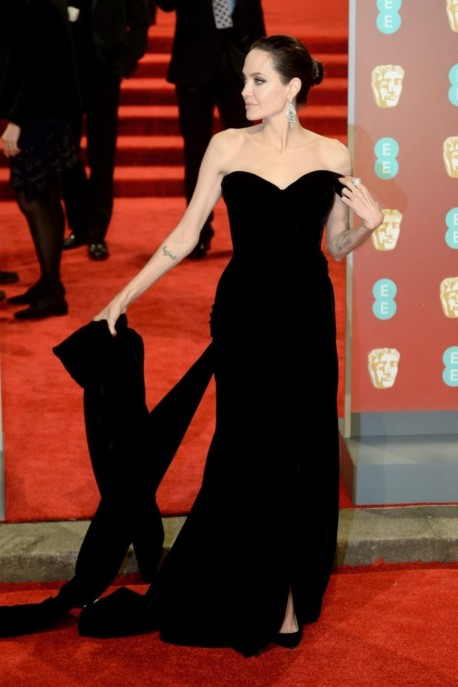Black Angelina Jolie Strapless Dress Velvet Prom Evening Gown Celebrity Red Carpet Dress BAFTAs