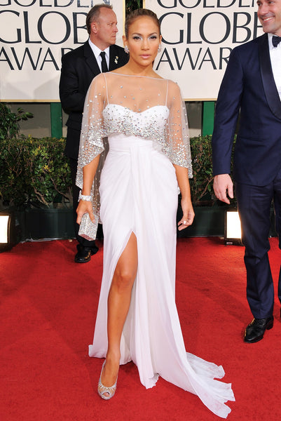 White Jennifer Lopez (J.Lo) Sequins Cape Dress Spaghetti Straps Prom Celebrity Red Carpet Dress Golden Globes