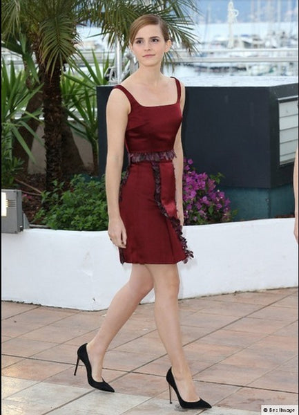 Burgundy Emma Watson Short Mini Party Dress Satin Prom Celebrity Evening Dress Cannes Film Festival