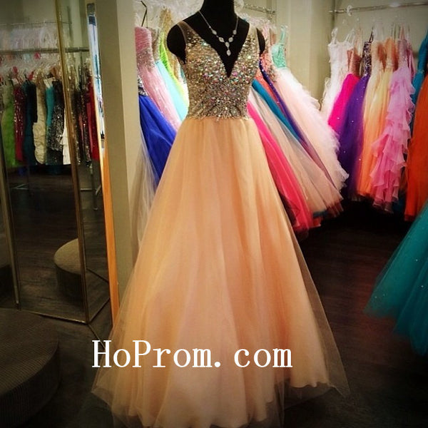 Straps V-Neck Prom Dresses,Long Prom Dress,Evening Dress
