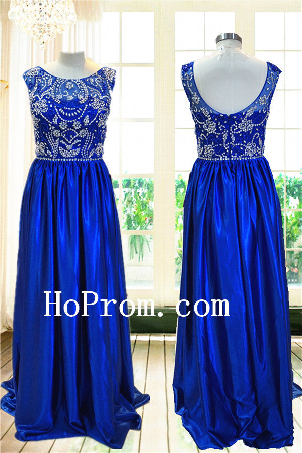 Royal Blue Prom Dresses,Beaded Prom Dress,Sleeveless Evening Dress