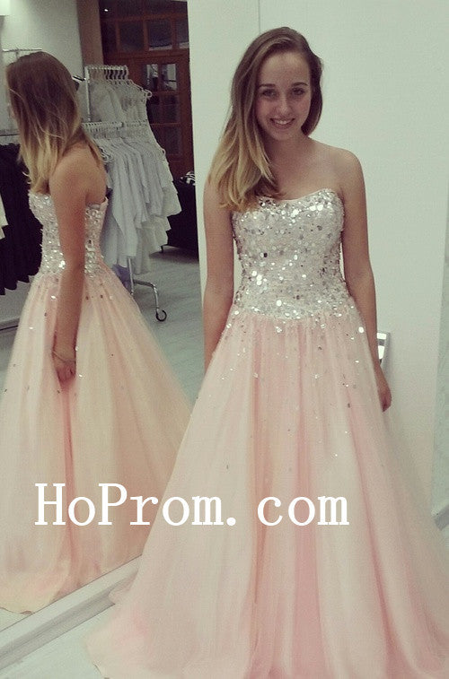 Sequin Strapless Prom Dresses,A-Line Prom Dress, Evening Dresses