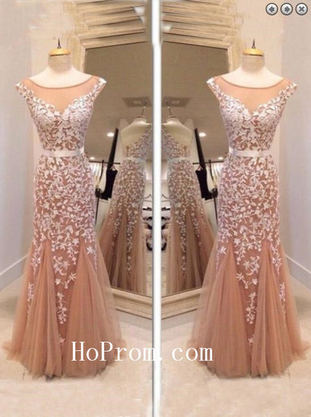 Sheath Tulle Prom Dresses,Applique Prom Dress,Evening Dress