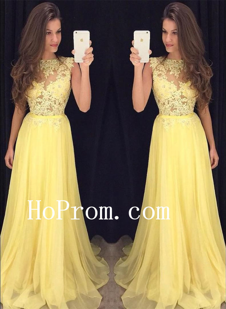 Sleeveless Yellow Prom Dresses,Lace And Applique Prom Dress,Evening Dress