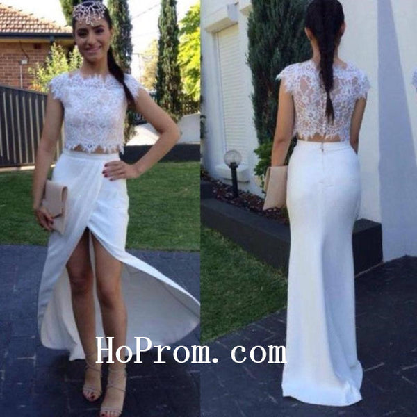 White Lace Prom Dresses,Satin Prom Dress, Evening Dresses
