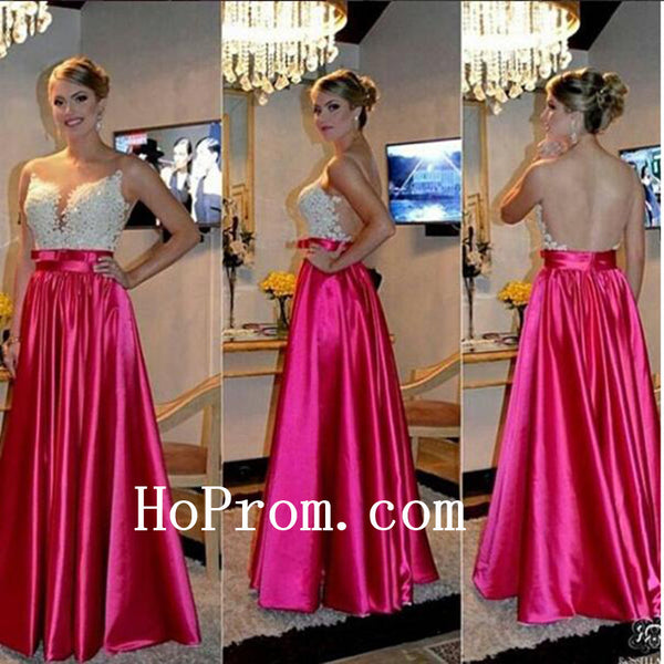 See Through Back Prom Dresses,Hot Pink Prom Dress,Evening Dress