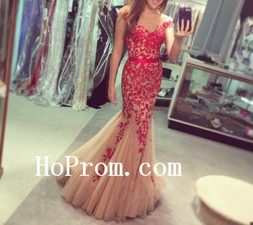 Cao Sleeve Prom Dresses,Red Applique Prom Dress,Evening Dress
