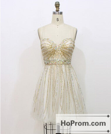 Mini Sequined Sweetheart Strapless Prom Dresses Homecoming Dresses