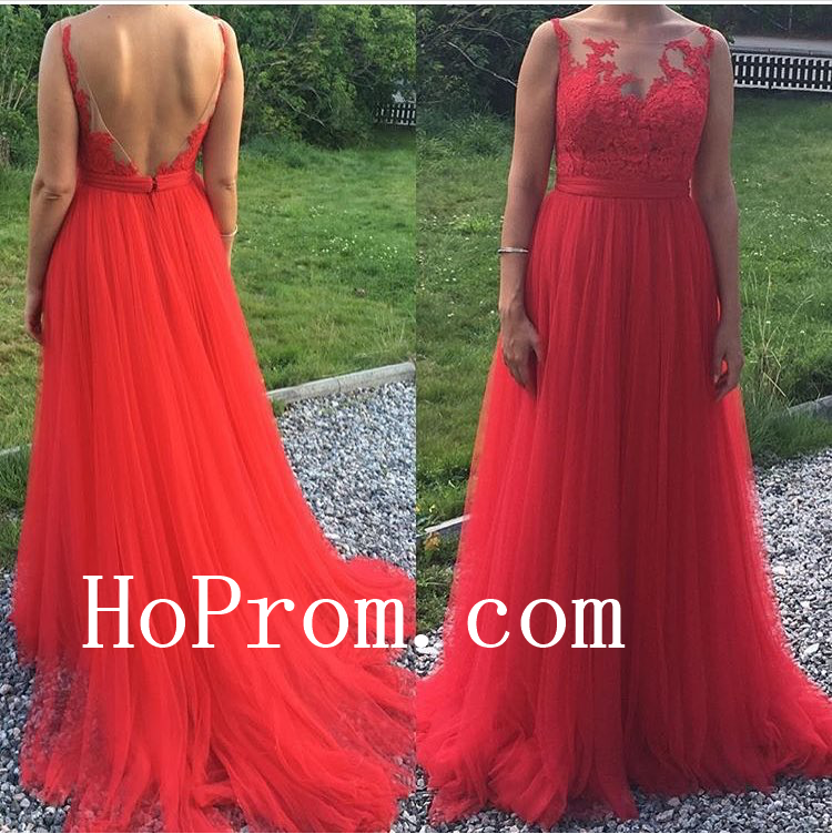 Red Lace Dresses,Chiffon Long Prom Dress,Evening Dress
