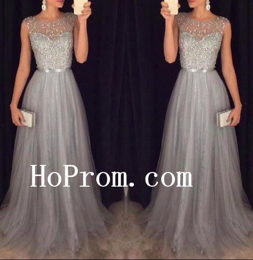 Grey Beading Prom Dresses,Chiffon Prom Dress,Tulle Evening Dress