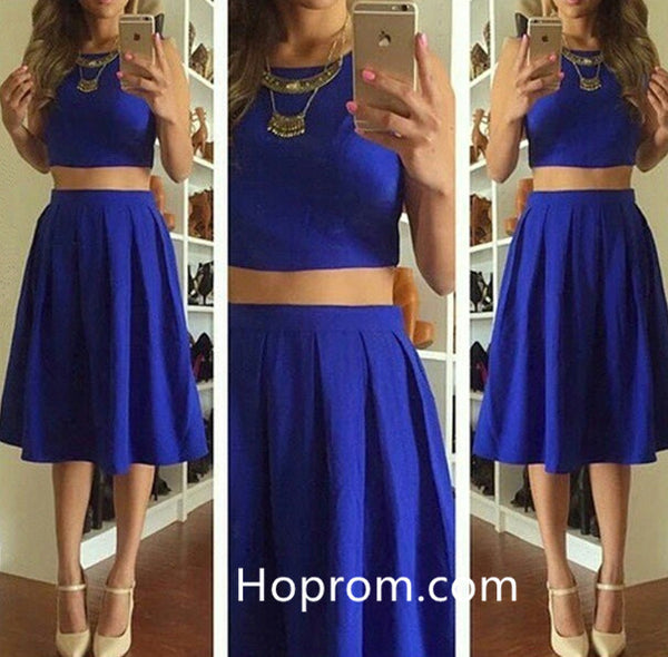 Two-Piece Knee-Length Cute Short Sleeveless Homecoming Dresses