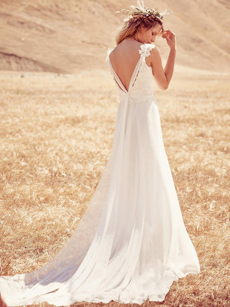 Open Back Chiffon Boho Wedding Dress with Lace Bodice