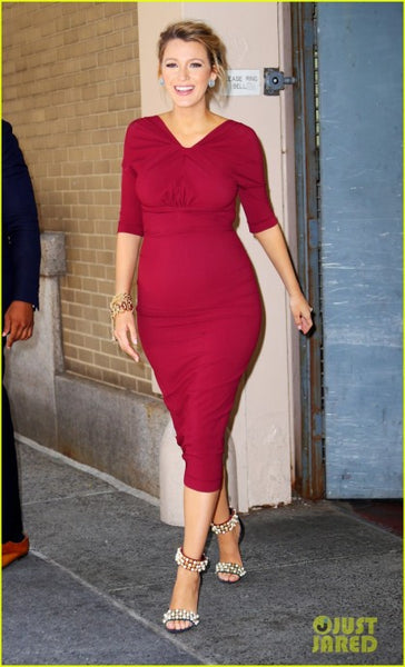 Burgundy Blake Lively Pregnant Maternity Dress Half Sleeve Prom Celebrity Formal Dress Online