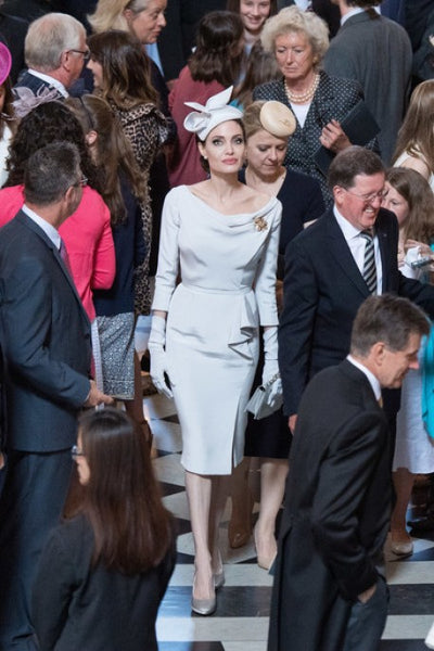 White Angelina Jolie Long Sleeves Cocktail Party Celebrity Dress Ahead of the Service of Commemoration Pale Gray
